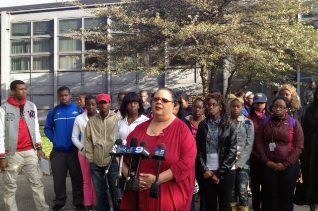 Chicago Teachers Union President Karen Lewis makes a statement outside Dyett High School in October 2012 discussing a tentative contract agreement the would end that year's teachers strike.