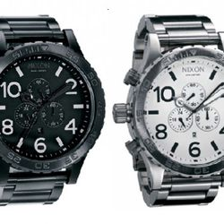 Nixon 51-30 Chrono in Black ($450) and White ($400), available at Barneys Co-op.