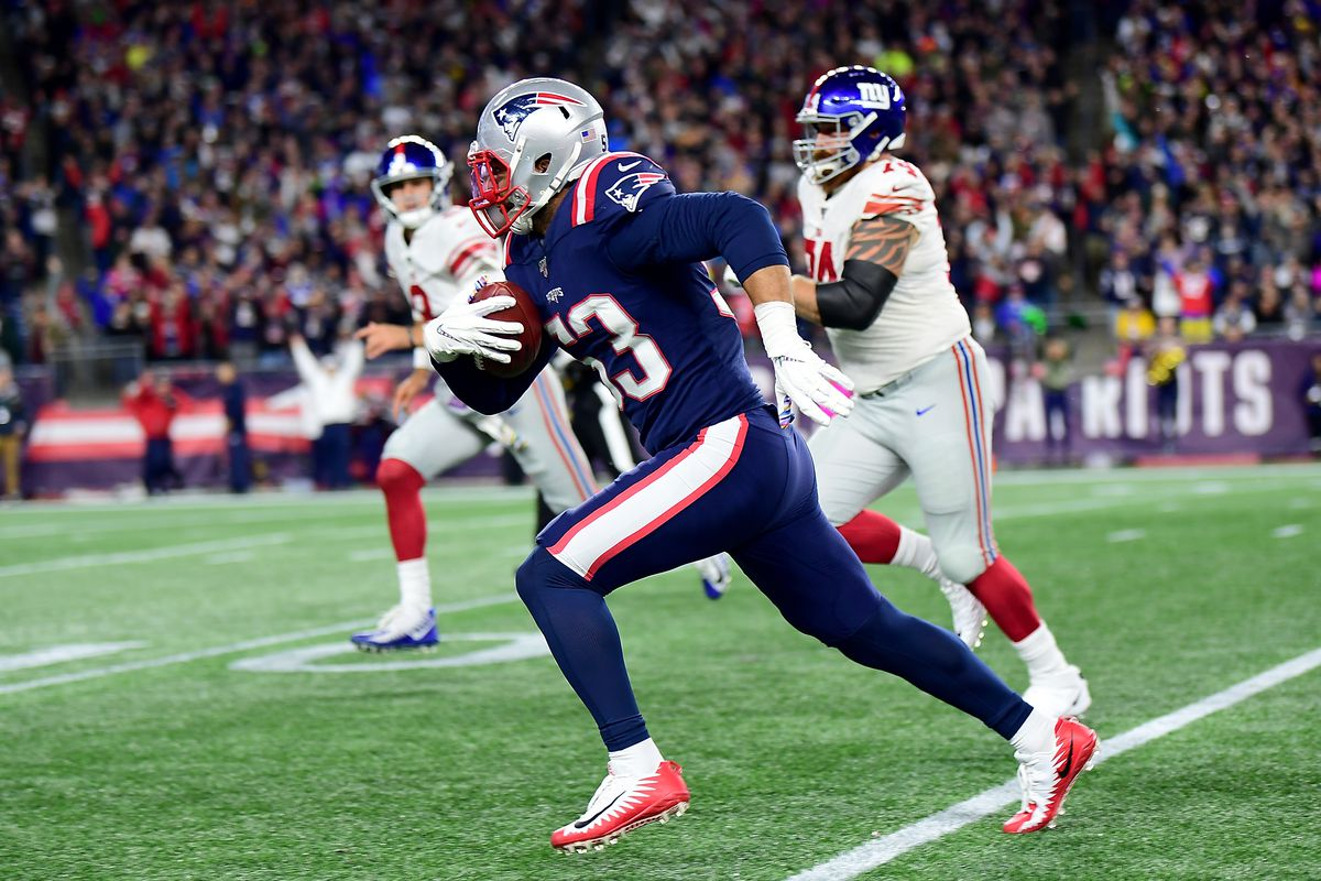 Kyle Van Noy of the New England Patriots runs the ball for a touchdown after recovering a fumble lost by Jon Hilliman of the New York Giants during the fourth quarter in the game at Gillette Stadium on October 10, 2019 in Foxborough, Massachusetts.