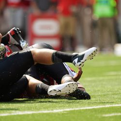 Braxton Miller's helmet knocked to the turf on the play in which he was injured.