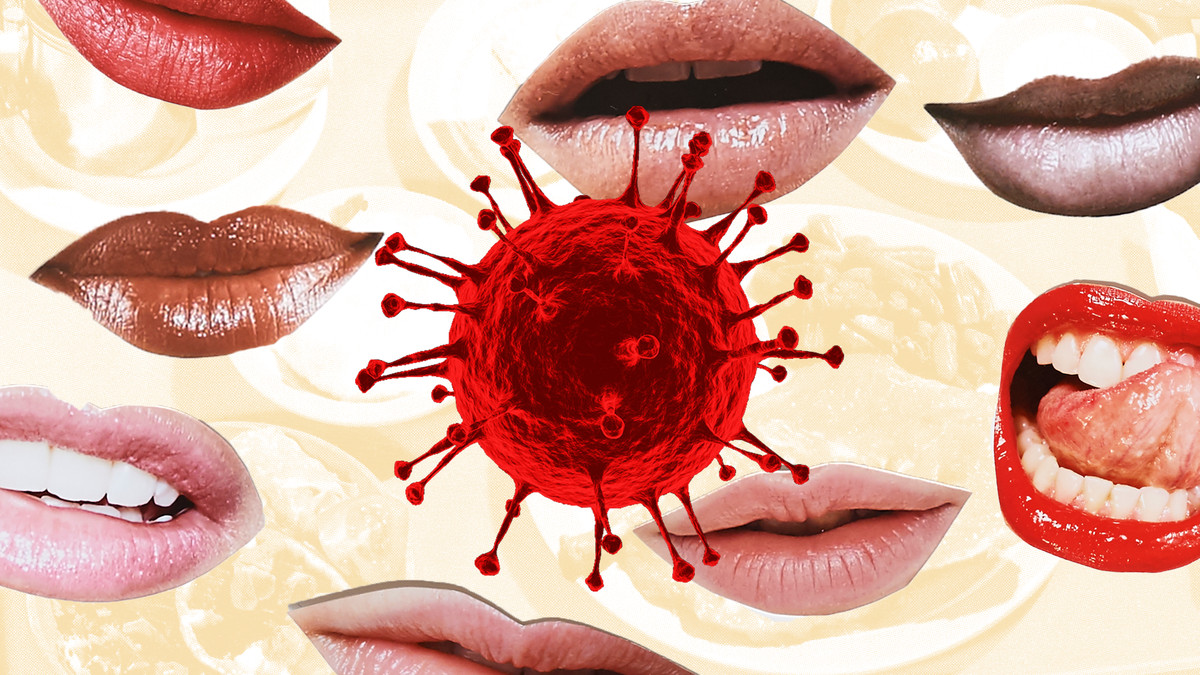 Illustration of a coronavirus particle on top a collage of mouths and the faint images of food.