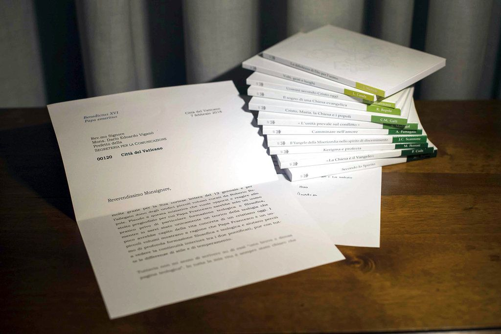 A letter by retired Pope Benedict is seen in this photo released on March 13, 2018 that the Vatican admitted was doctored, by blurring its final two lines, where retired Pope Benedict begins to acknowledge that he didn't read an 11-volume set of books abo