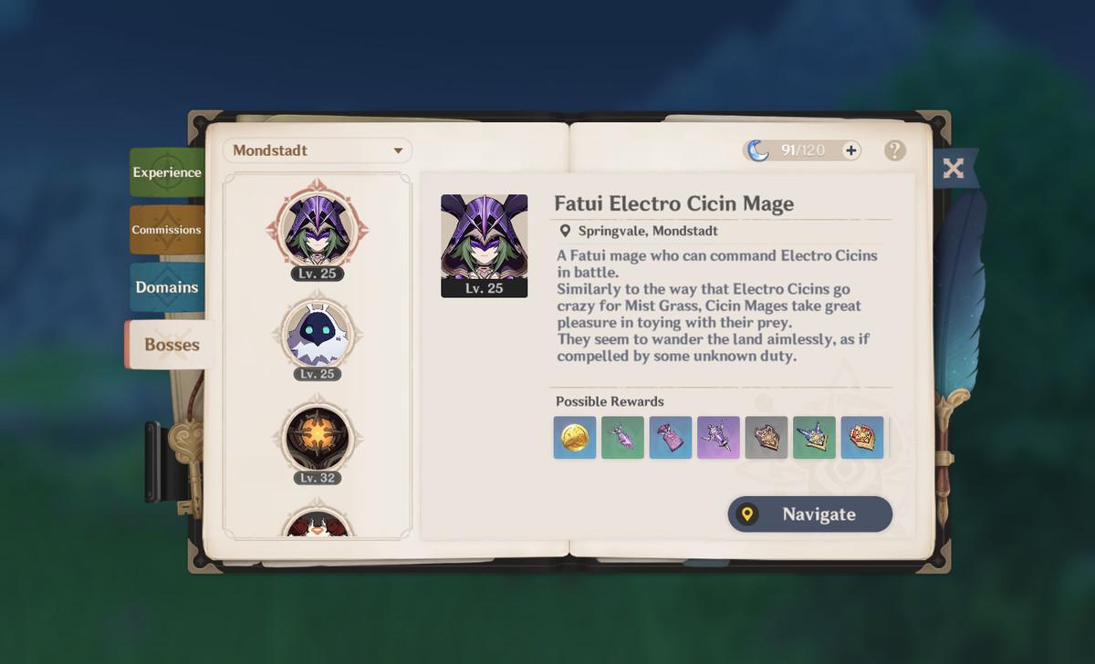 A menu screen of an open book, showing various boss enemies