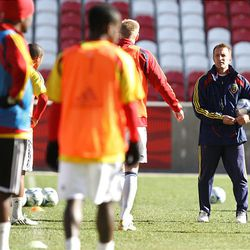 Real Salt Lake coach Jason Kreis (right) watches the team workout at Rio Tinto Stadium in preparations for the MLS championship game against the L.A. Galaxy in Seattle.