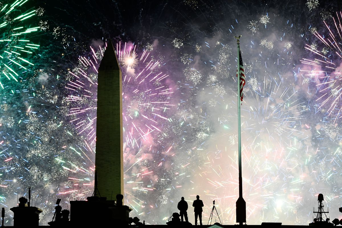 Fireworks above the White House at the end of President Joe Biden's Inauguration Day on January 20, 2021.