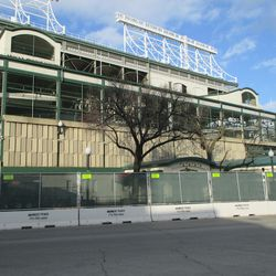 Dec 1: The concrete panels that will eventually be removed on the right-field side -