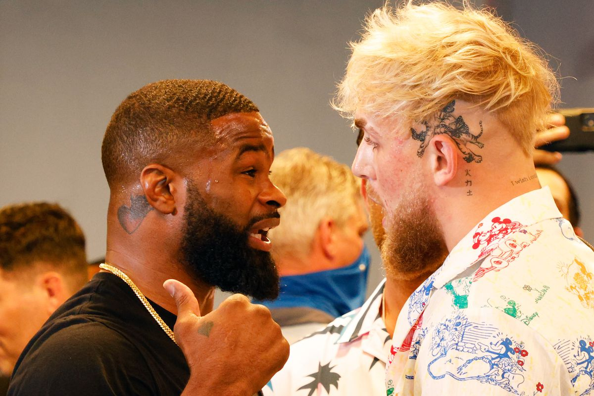 Jake Paul and Tyron Woodley face off ahead of their boxing match on August 28th
