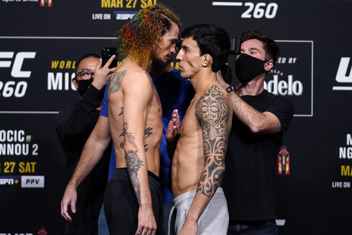 Sean O'Malley and Thomas Almeida at UFC 260