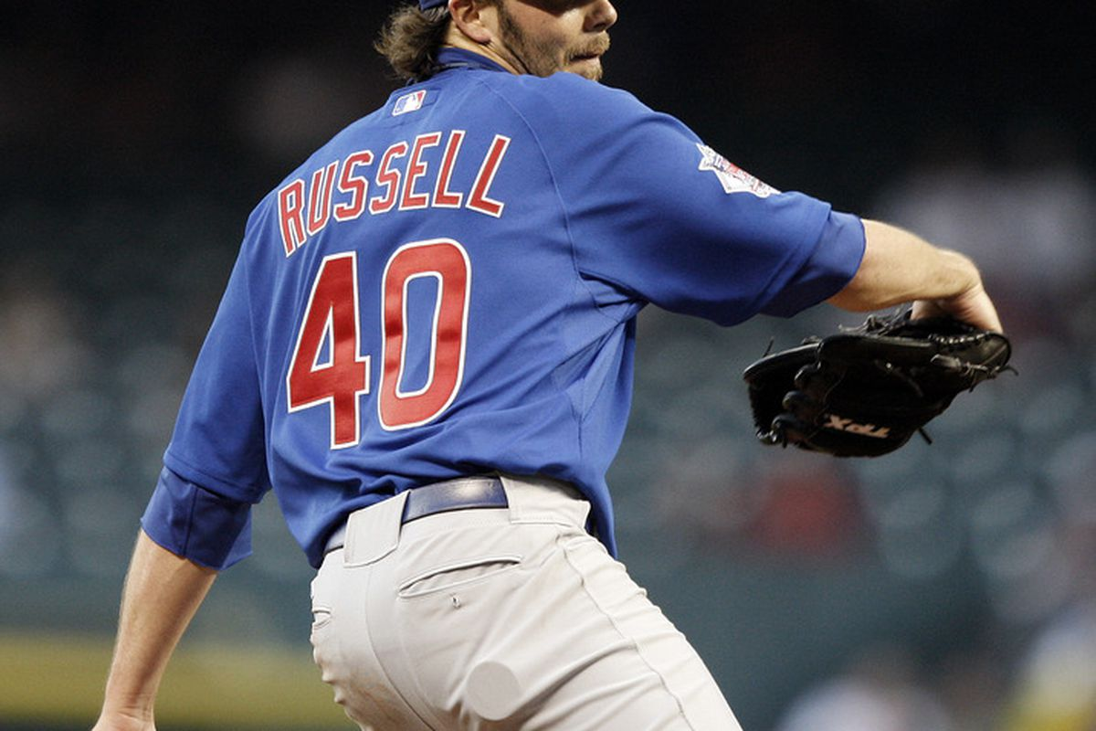 HOUSTON - APRIL 12:  Pitcher James Russell #40 of the Chicago Cubs throws in the first inning against the Houston Astros at Minute Maid Park on April 12, 2011 in Houston, Texas.  (Photo by Bob Levey/Getty Images)