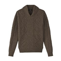 """<strong>A.P.C.</strong> Irish Shawl Collar Pullover in Nut Brown, <a href=""""http://www.hm.com/us/product/14555?article=14555-A"""">$355</a>"""