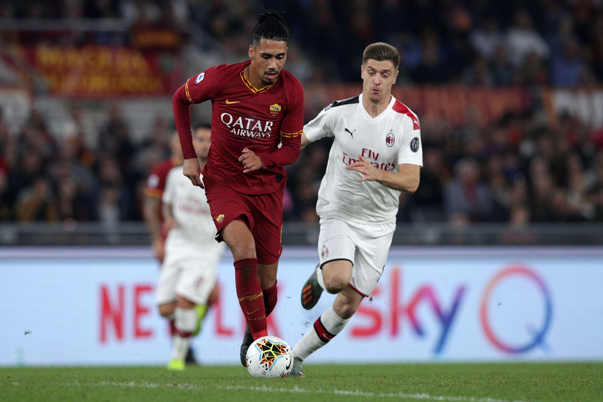 Chris Smalling ( Roma ) and Andrea Conti ( Milan ) in...