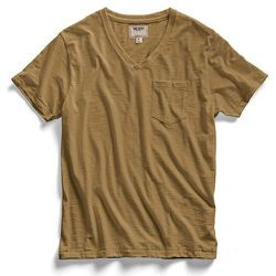 """<strong>Todd Snyder</strong> Pocket V-Neck T-Shirt in Khaki <a href=""""http://www.toddsnyder.com/pages/todd-snyder-city-gym"""">$39</a> (reg. $75) at City Gym"""