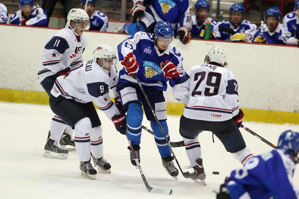 Garrett Haar (29) playing for the United States team in a junior international competition.