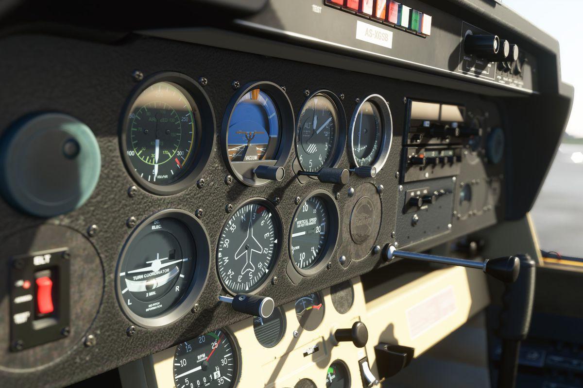 Instrument panel on a plane in Microsoft Flight Simualtor