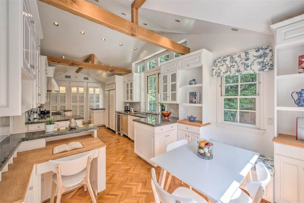 Kitchen with beamed ceiling