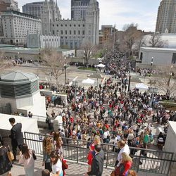 Crowd outside after The Church of Jesus Christ of Latter-day Saints' Saturday afternoon session of the 183rd Annual General Conference Saturday, April 6, 2013, in Salt Lake City.