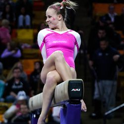 Hayley Sanzotti performs her beam routine earlier this season against North Carolina State and Bowling Green.