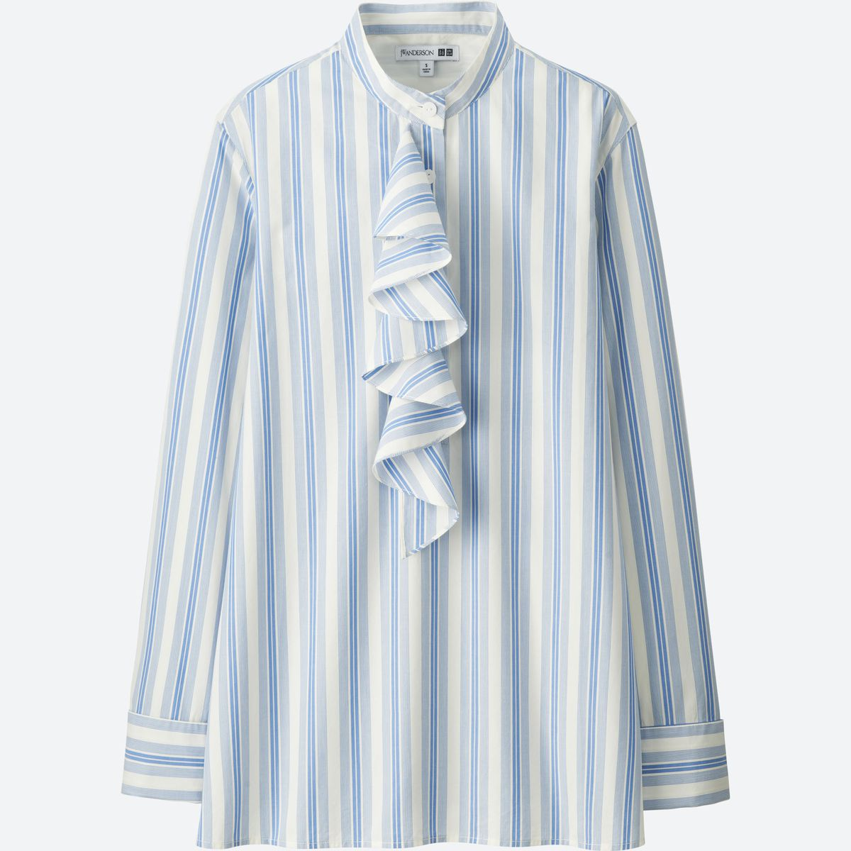 blue and white ruffled blouse