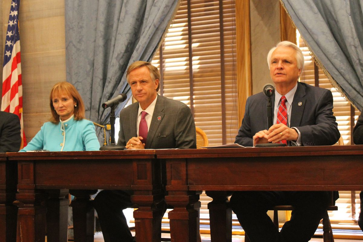 From left: House Speaker Beth Harwell, Gov. Bill Haslam and Lt. Gov. Ron Ramsey speak with reporters in April at the close of the state legislature. All three leaders have appointed members to a new committee helping to review Tennessee's academic standards.
