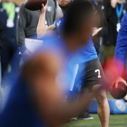 BYU quarterback Taysom Hill throws during Pro Day in Provo on Friday, March 24, 2017.