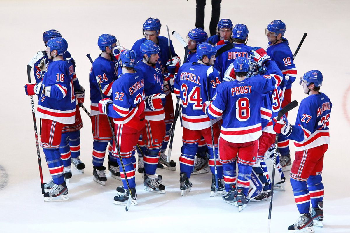 April 12, 2012; New York, NY, USA; New York Rangers celebrate after winning the game against the Ottawa Senators in game one of the 2012 Eastern Conference quarterfinals at Madison Square Garden. Rangers won 4-2. Debby Wong-US PRESSWIRE