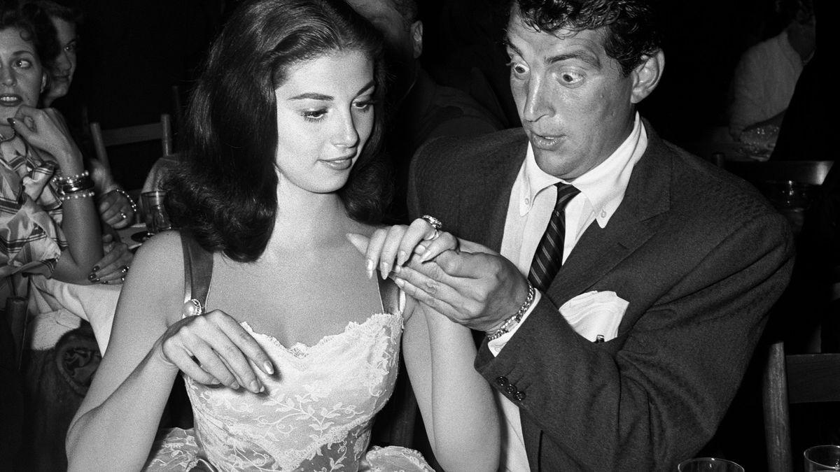 Actress Pier Angeli's engagement ring shocks Dean Martin.