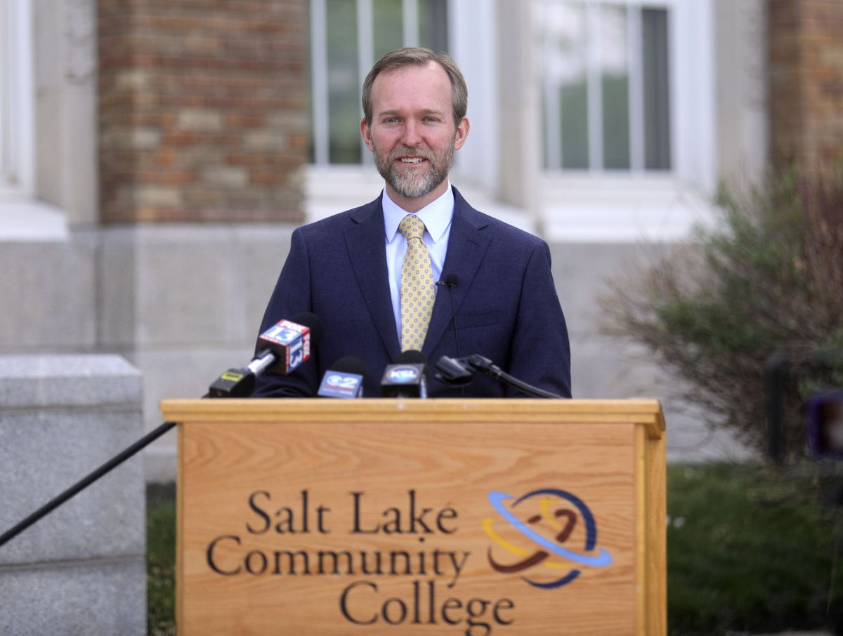 Rep. Ben McAdams, D-Utah,talks about the CARES Act, which suspends student loan payments and reduces interest to 0% until the end of September 2020, during a press conference in front of Salt Lake Community College's South City Campus in Salt Lake City on Wednesday, May 6, 2020.