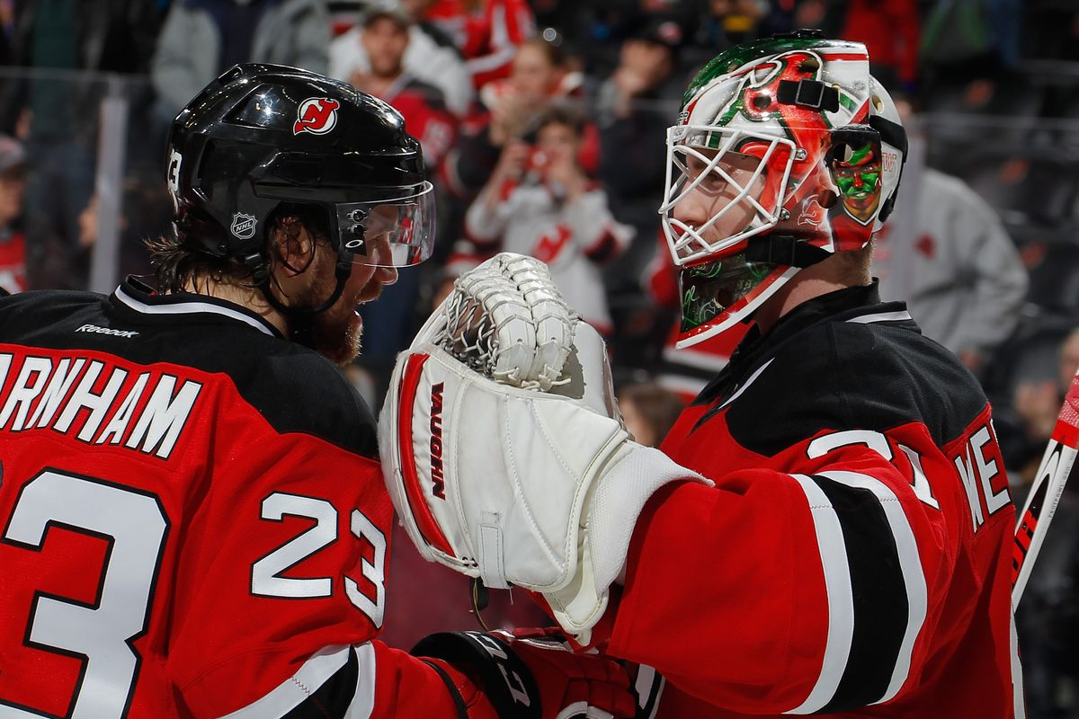 Bobby Farnham, the team, and the fans appropriately congratulated Scott Wedgewood on his first NHL win in his first NHL game.
