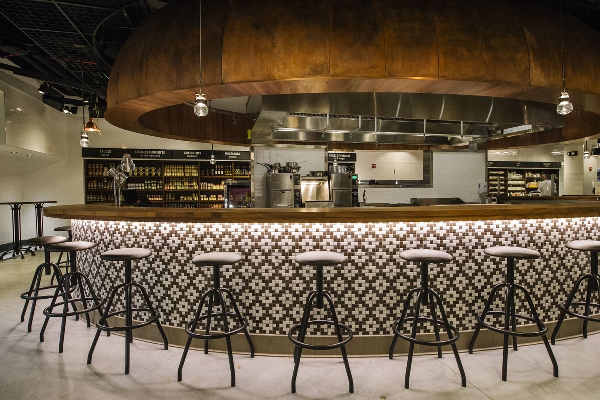 [A dining counter at Le District in Battery  Park City]