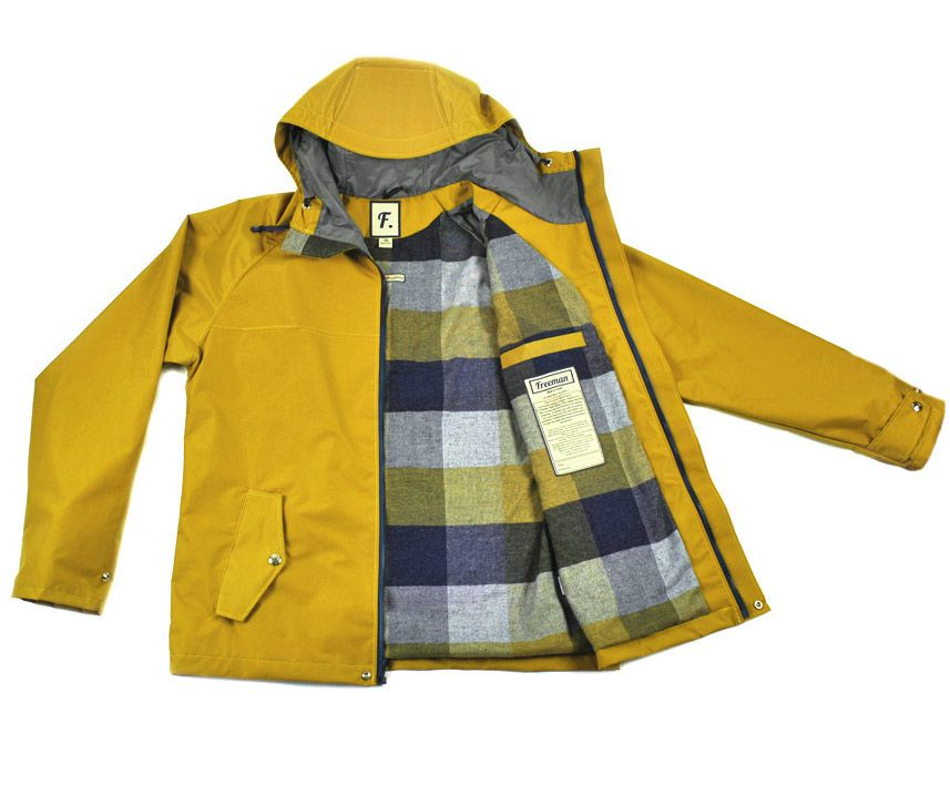 A yellow raincoat laid open