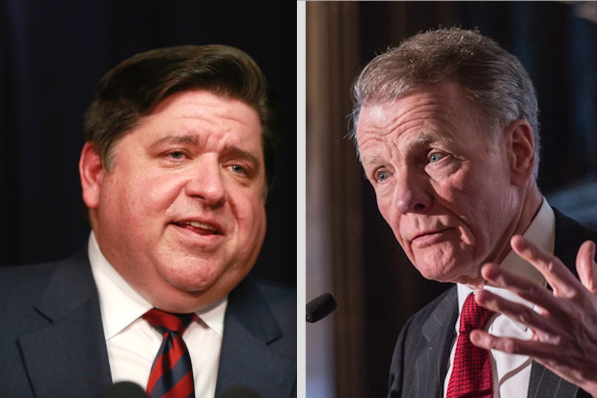 Gov. J.B. Pritzker, left; state House Speaker Mike Madigan, right.