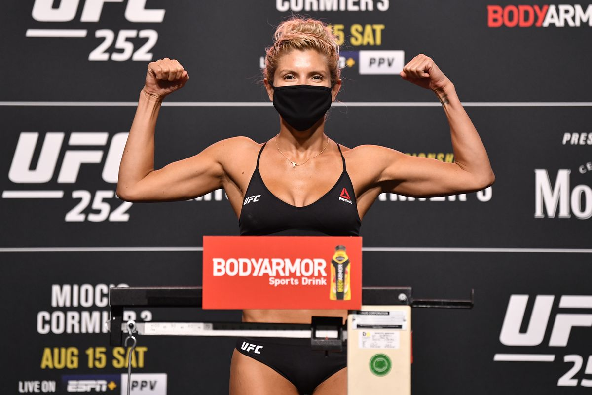Ashley Yoder poses on the scale during the UFC 252 weigh-in at UFC APEX on August 14, 2020 in Las Vegas, Nevada.