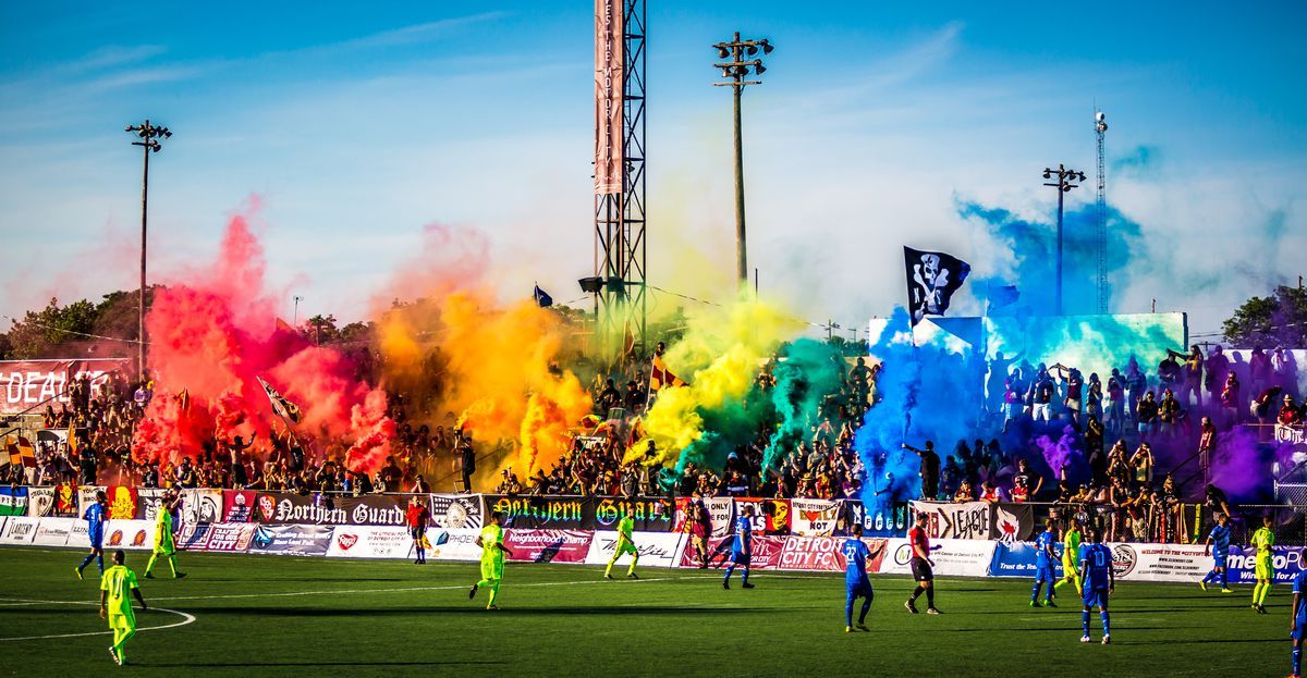 Fluorescent smoke bombs from DCFC's Northern Guard contingent is a hallmark of the games.
