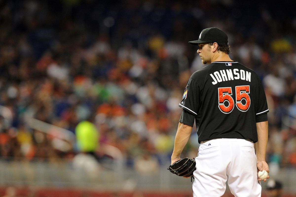 What are the odds Josh Johnson makes it to 2013 as a Marlin? Mandatory Credit: Steve Mitchell-US PRESSWIRE