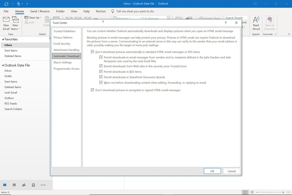 Disable image autoloading in Microsoft Outlook