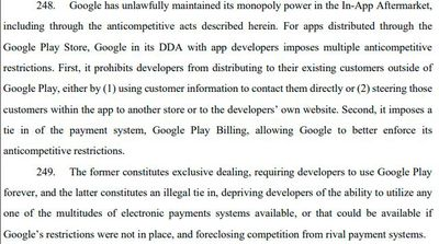 For apps distributed through the Google Play Store, Google in its DDA with app developers imposes multiple anticompetitive restrictions. First, it prohibits developers from distributing to their existing customers outside of Google Play, either by (1) using customer information to contact them directly or (2) steering those customers within the app to another store or to the developers' own website.