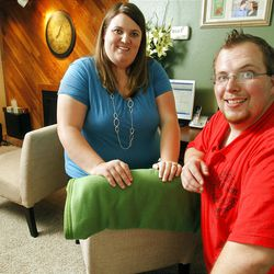 """Amanda and Matthew McKnight Tuesday, Aug. 2, 2011 at home in Murray. It seems that young adults, late teens through their 20s, consult their """"networks"""" to make decisions."""