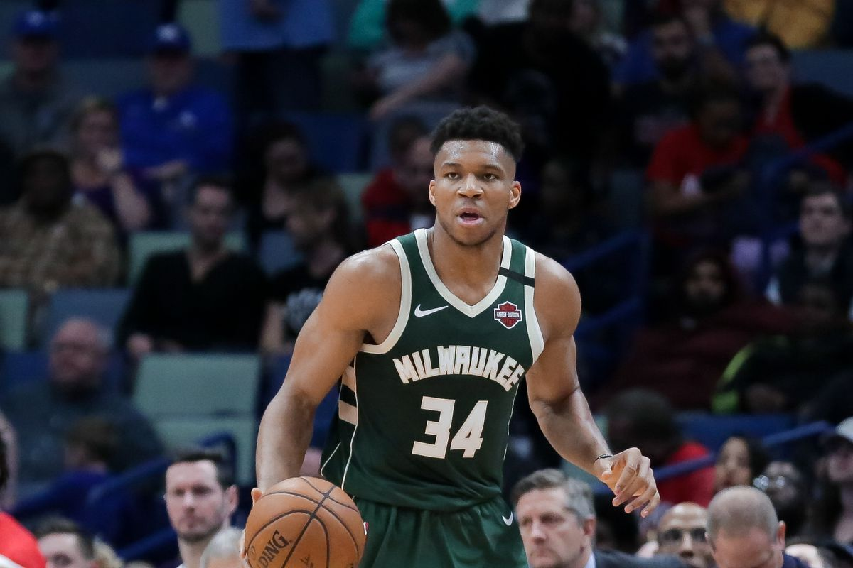 Milwaukee Bucks forward Giannis Antetokounmpo  during the second half against the New Orleans Pelicans at the Smoothie King Center.