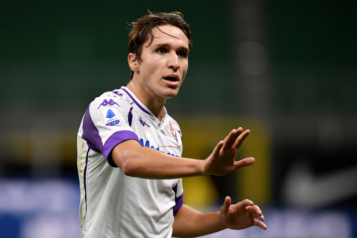Federico Chiesa of AC Fiorentina reacts during the Serie A...