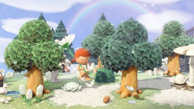 An Animal Crossing player does the 'floating challenge'