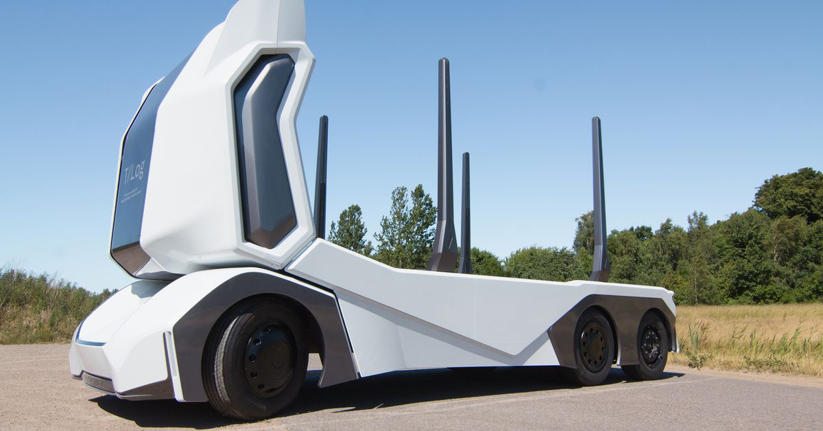 photo image This electric driverless logging truck can carry up to 16 tons of timber