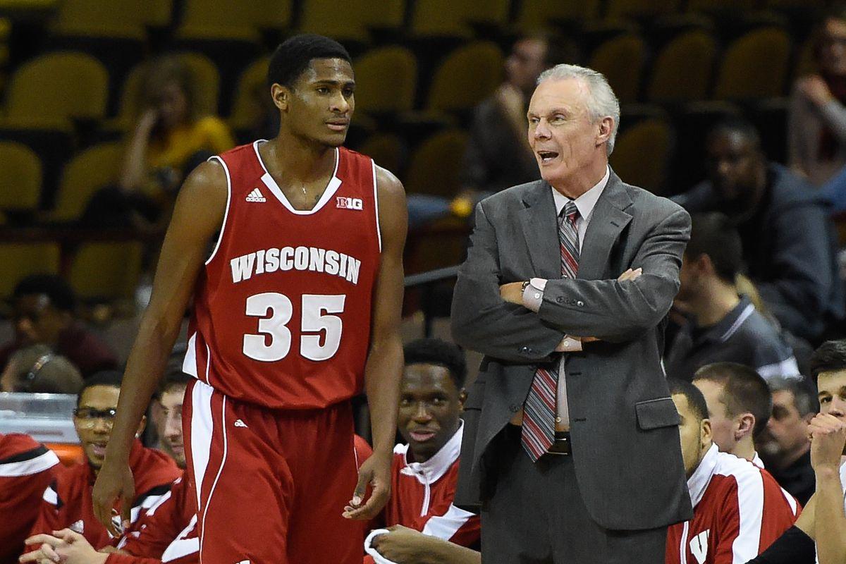 Sophomore Riley Dearring talks to head coach Bo Ryan.