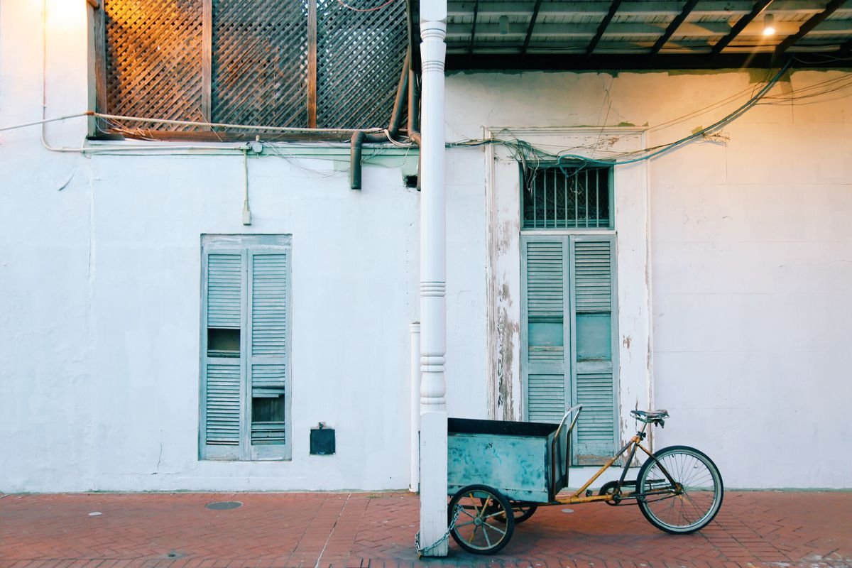 A pedi-cab bike parked in the French Quarter.
