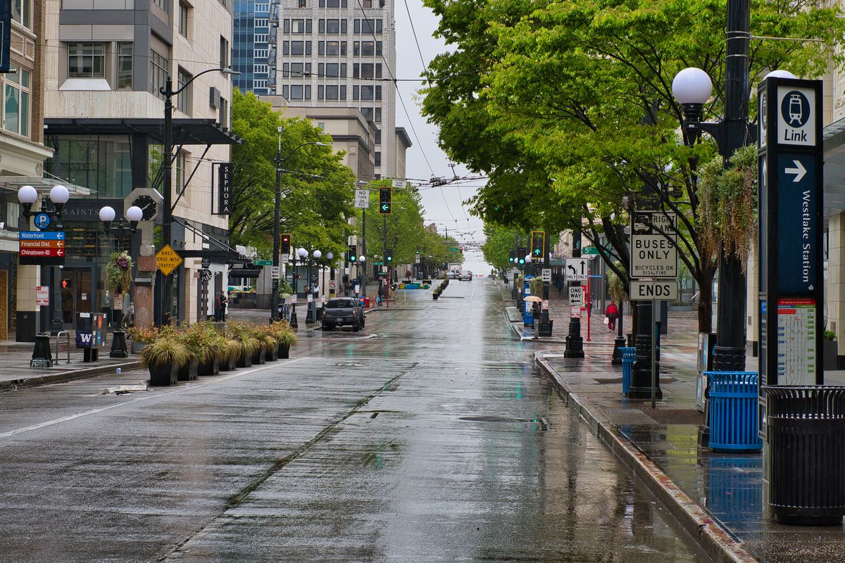 An empty downtown Seattle street on a rainy day
