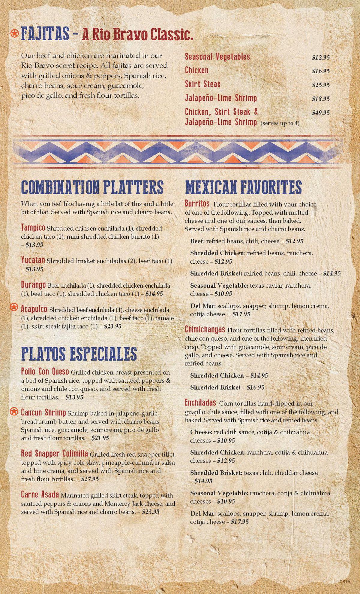 Ray's Rio Bravo menu 3