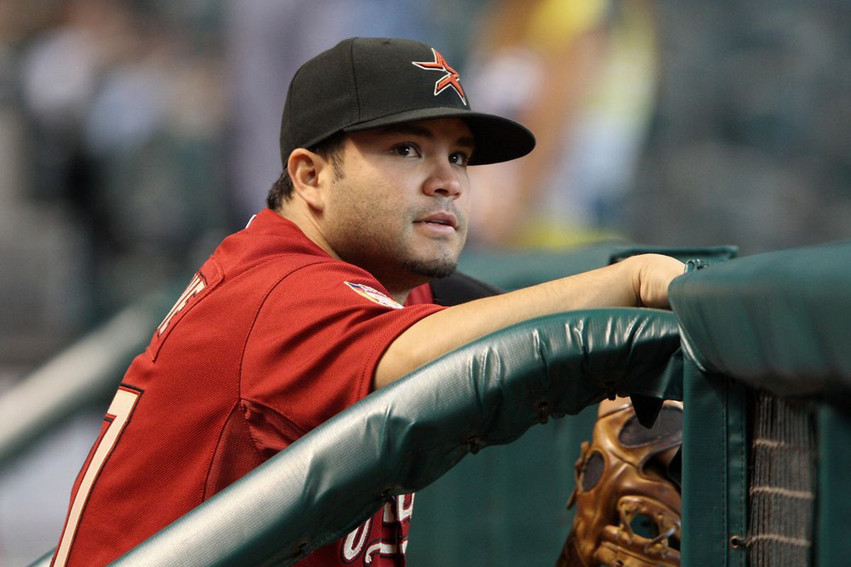 May 06, 2012; Houston, TX, USA; Houston Astros infielder Jose Altuve (27) in the dugout before a game against the St. Louis Cardinals at Minute Maid Park. Mandatory Credit: Troy Taormina-US PRESSWIRE