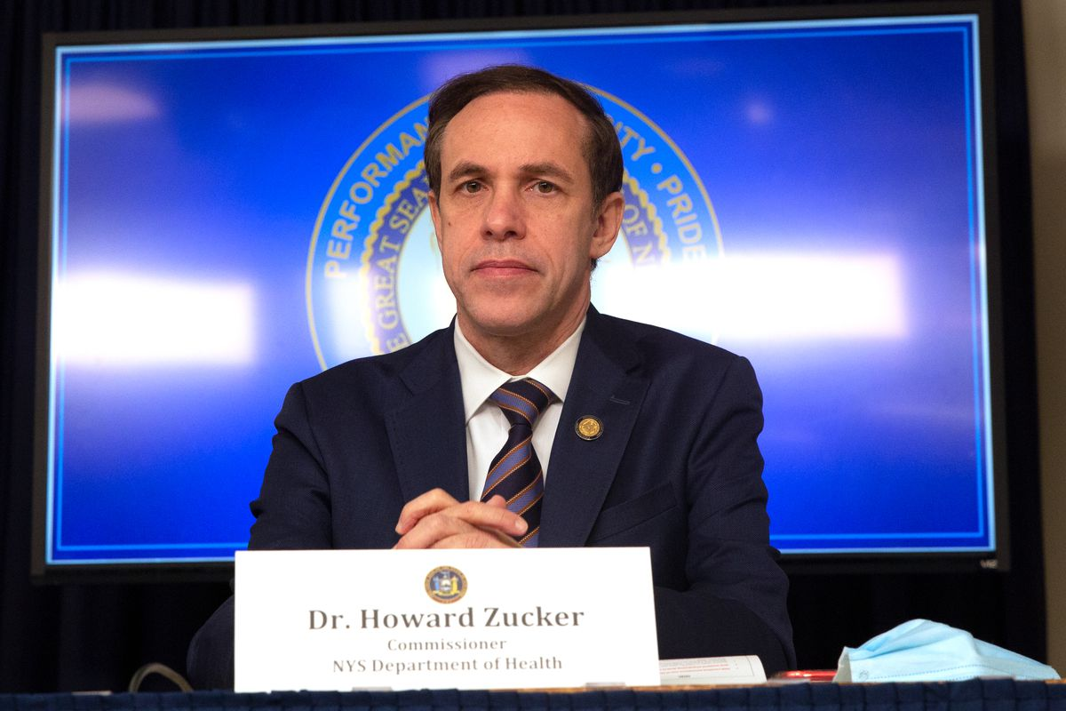 State Health Commissioner Dr. Howard A. Zucker takes part in a coronavirus press conference with Gov. Andrew Cuomo in Manhattan, July 1, 2020.