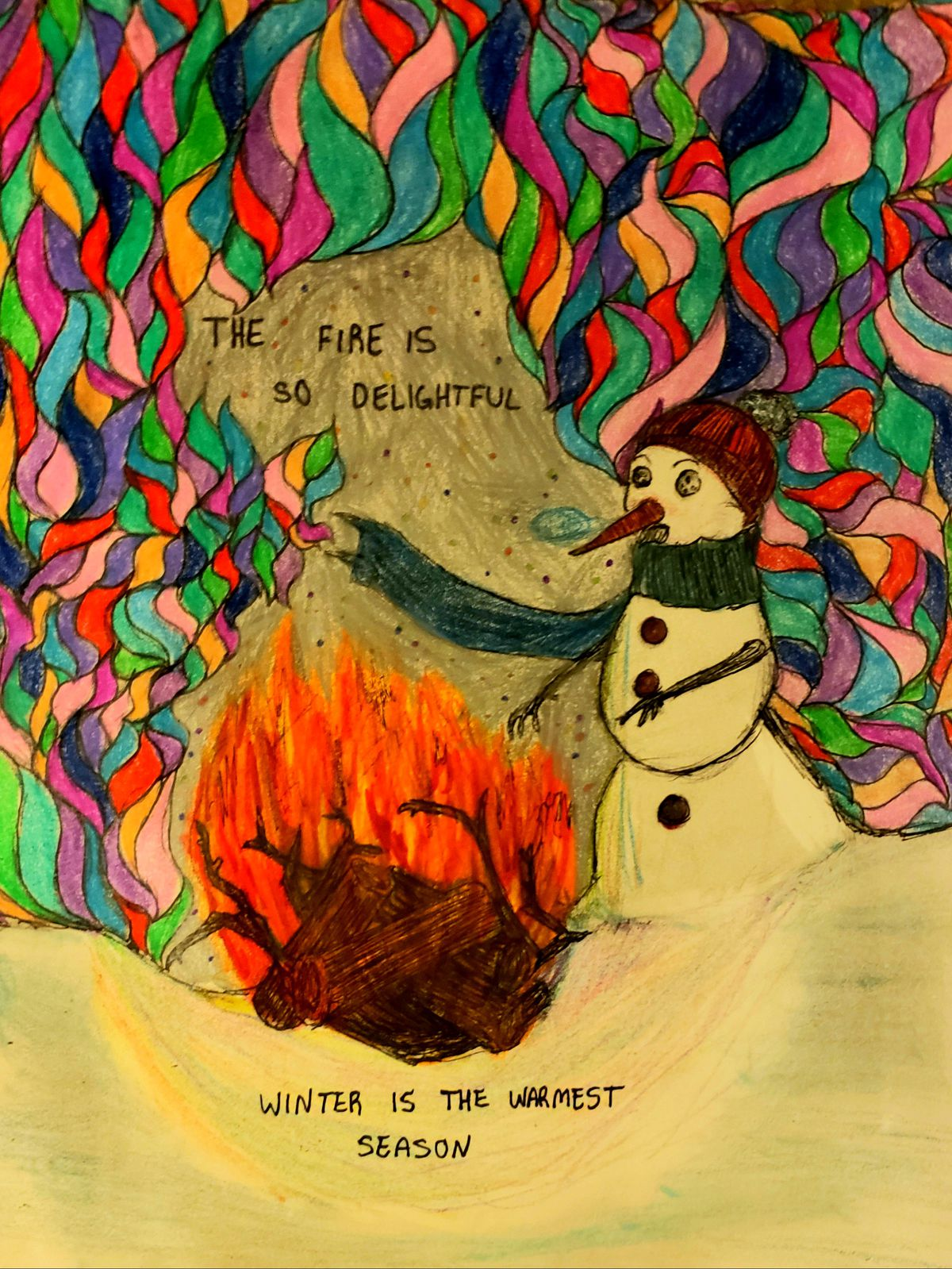 A snowman a little close to the fire by Osvaldo S., 17, a junior at Whitney Young Magnet High School on the Near West Side.