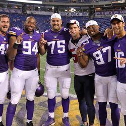 Aug 9, 2013; Minneapolis, MN, USA; Houston Texans inside linebacker Brian Cushing (56) poses for a photo with Minnesota Vikings tight end Rhett Ellison (40), defensive end Lawrence Jackson (94), tackle Matt Kalil (75), defensive end Everson Griffen (97) a