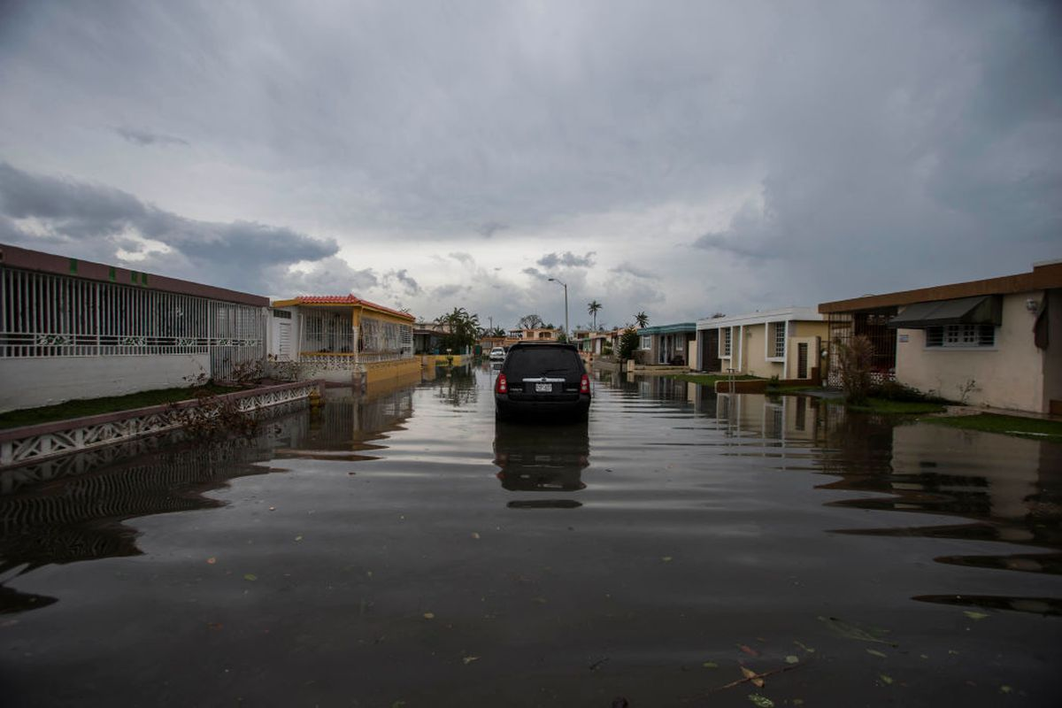 A flooded street in Puerto Rico after Hurricane Maria.